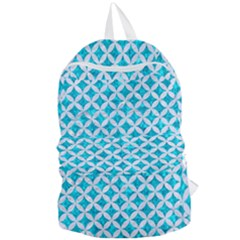 Circles3 White Marble & Turquoise Marble Foldable Lightweight Backpack