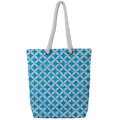 Circles3 White Marble & Turquoise Marble Full Print Rope Handle Tote (small) by trendistuff