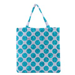 Circles2 White Marble & Turquoise Marble (r) Grocery Tote Bag
