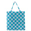 CIRCLES2 WHITE MARBLE & TURQUOISE MARBLE (R) Grocery Tote Bag View1