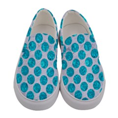 Circles2 White Marble & Turquoise Marble (r) Women s Canvas Slip Ons