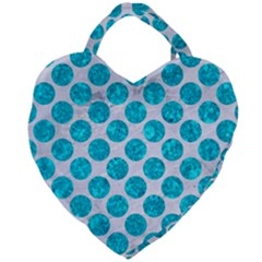 Circles2 White Marble & Turquoise Marble (r) Giant Heart Shaped Tote