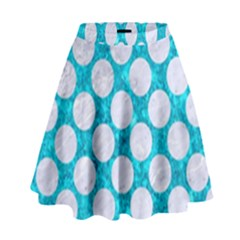 Circles2 White Marble & Turquoise Marble High Waist Skirt by trendistuff