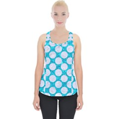 Circles2 White Marble & Turquoise Marble Piece Up Tank Top