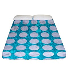 Circles1 White Marble & Turquoise Marble Fitted Sheet (california King Size) by trendistuff