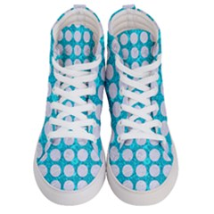 Circles1 White Marble & Turquoise Marble Men s Hi Top Skate Sneakers