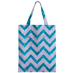 Chevron9 White Marble & Turquoise Marble (r) Zipper Classic Tote Bag by trendistuff