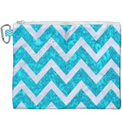 Chevron9 White Marble & Turquoise Marble Canvas Cosmetic Bag (xxxl) by trendistuff