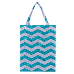 Chevron3 White Marble & Turquoise Marble Classic Tote Bag by trendistuff