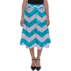 Chevron3 White Marble & Turquoise Marble Perfect Length Midi Skirt