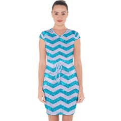Chevron3 White Marble & Turquoise Marble Capsleeve Drawstring Dress