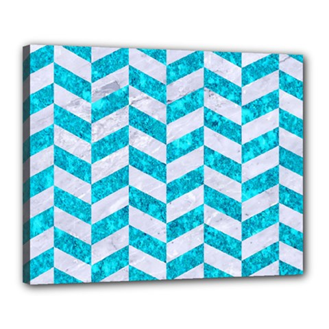Chevron1 White Marble & Turquoise Marble Canvas 20  X 16  by trendistuff