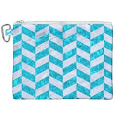Chevron1 White Marble & Turquoise Marble Canvas Cosmetic Bag (xxl) by trendistuff