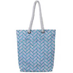 Brick2 White Marble & Turquoise Marble (r) Full Print Rope Handle Tote (small) by trendistuff