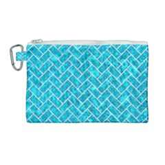 Brick2 White Marble & Turquoise Marble Canvas Cosmetic Bag (large) by trendistuff