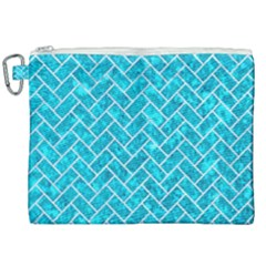 Brick2 White Marble & Turquoise Marble Canvas Cosmetic Bag (xxl) by trendistuff