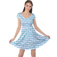 Brick1 White Marble & Turquoise Marble (r) Cap Sleeve Dress