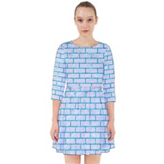 Brick1 White Marble & Turquoise Marble (r) Smock Dress by trendistuff