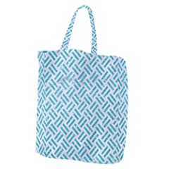 Woven2 White Marble & Turquoise Glitter (r) Giant Grocery Zipper Tote by trendistuff