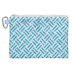 Woven2 White Marble & Turquoise Glitter (r) Canvas Cosmetic Bag (xl) by trendistuff