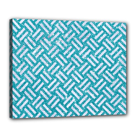 Woven2 White Marble & Turquoise Glitter Canvas 20  X 16