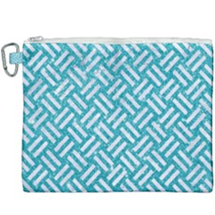 Woven2 White Marble & Turquoise Glitter Canvas Cosmetic Bag (xxxl) by trendistuff