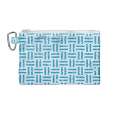 Woven1 White Marble & Turquoise Glitter (r) Canvas Cosmetic Bag (medium) by trendistuff