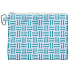 Woven1 White Marble & Turquoise Glitter (r) Canvas Cosmetic Bag (xxl) by trendistuff