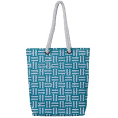 Woven1 White Marble & Turquoise Glitter Full Print Rope Handle Tote (small) by trendistuff
