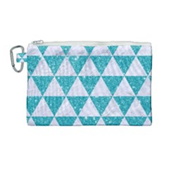 Triangle3 White Marble & Turquoise Glitter Canvas Cosmetic Bag (large) by trendistuff
