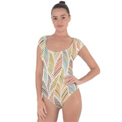Decorative  Seamless Pattern Short Sleeve Leotard