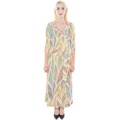 Decorative  Seamless Pattern Quarter Sleeve Wrap Maxi Dress by TastefulDesigns