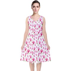 Watercolor Spring Flowers Pattern V Neck Midi Sleeveless Dress