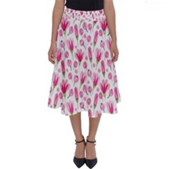 Watercolor Spring Flowers Pattern Perfect Length Midi Skirt