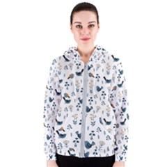 Spring Flowers And Birds Pattern Women s Zipper Hoodie by TastefulDesigns
