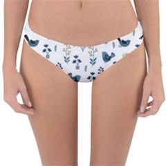 Spring Flowers And Birds Pattern Reversible Hipster Bikini Bottoms by TastefulDesigns