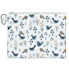 Spring Flowers And Birds Pattern Canvas Cosmetic Bag (xxl) by TastefulDesigns