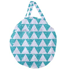 Triangle2 White Marble & Turquoise Glitter Giant Round Zipper Tote by trendistuff