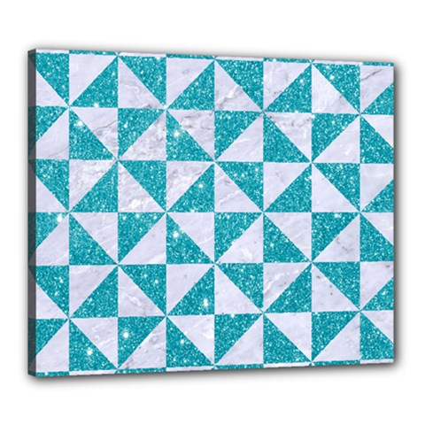 Triangle1 White Marble & Turquoise Glitter Canvas 24  X 20  by trendistuff