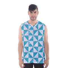 Triangle1 White Marble & Turquoise Glitter Men s Basketball Tank Top