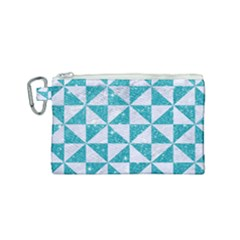 Triangle1 White Marble & Turquoise Glitter Canvas Cosmetic Bag (small) by trendistuff