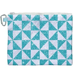 Triangle1 White Marble & Turquoise Glitter Canvas Cosmetic Bag (xxxl) by trendistuff