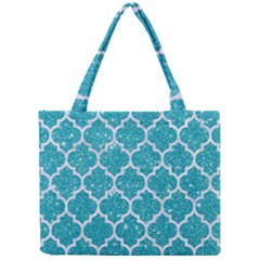Tile1 White Marble & Turquoise Glitter Mini Tote Bag by trendistuff
