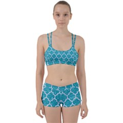 Tile1 White Marble & Turquoise Glitter Women s Sports Set by trendistuff