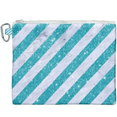 Stripes3 White Marble & Turquoise Glitter (r) Canvas Cosmetic Bag (xxxl) by trendistuff