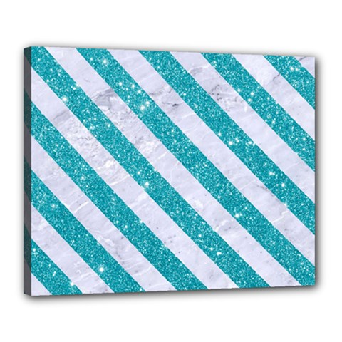 Stripes3 White Marble & Turquoise Glitter Canvas 20  X 16  by trendistuff