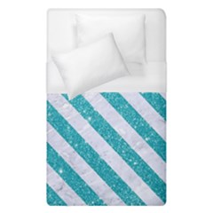 Stripes3 White Marble & Turquoise Glitter Duvet Cover (single Size)