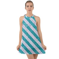 Stripes3 White Marble & Turquoise Glitter Halter Tie Back Chiffon Dress