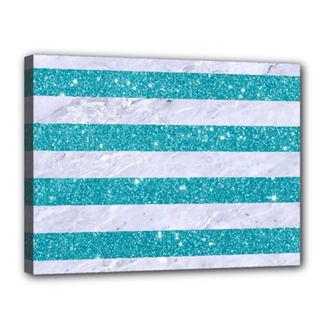 Stripes2white Marble & Turquoise Glitter Canvas 16  X 12  by trendistuff