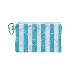 Stripes1 White Marble & Turquoise Glitter Canvas Cosmetic Bag (small) by trendistuff